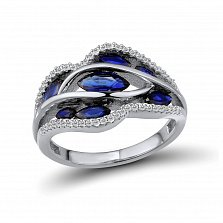 Кольцо из белого золота Ванесса с бриллиантами и сапфирами