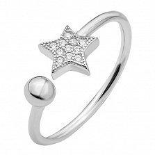 Серебряное кольцо Звездочка с белыми кристаллами Swarovski и разомкнутой шинкой