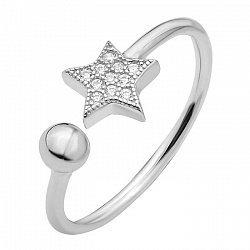 Серебряное кольцо с цирконием Swarovski 000103094