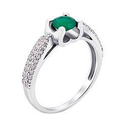 Серебряное кольцо с зеленым агатом и фианитами 000010808