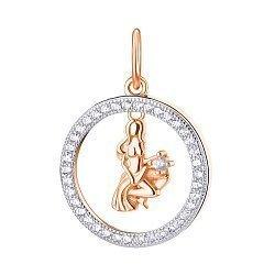 Серебряный кулон Дева с позолотой и фианитами 000113688
