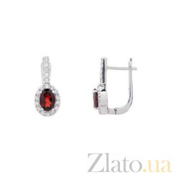 Серебряные серьги с красным гранатом AQA--E00954G
