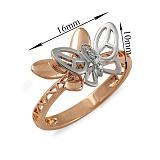 Кольцо Бабочки из красного и белого золота с бриллиантами