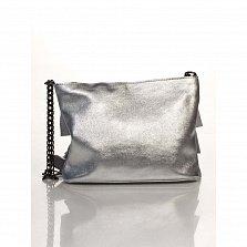 Кожаный клатч Genuine Leather 6504 серебристого цвета с декоративными оборками и плечевым ремнем