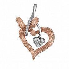 Кулон из комбинированного золота Весна любви с бриллиантами