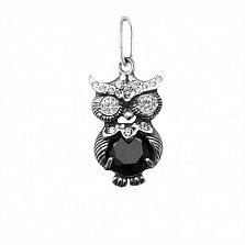 Серебряный кулон Строгая сова с черным и белым цирконием