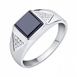 Серебряный перстень-печатка с черным ониксом и белыми фианитами 000102990