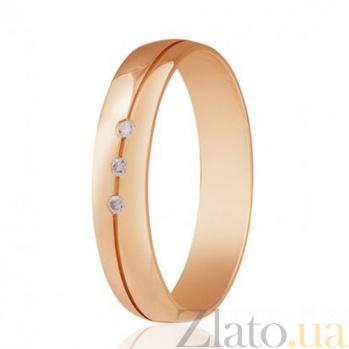 Золотое обручальное кольцо глянцевое Три камня с фианитами 000001629