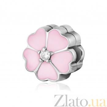 Серебряный шарм-клипса Примула с розовой эмалью и цирконием 000078617