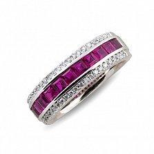Кольцо из белого золота с рубинами и бриллиантами Магдала