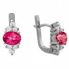 Серебряные серьги Шарлиз с розовым топазом и фианитами