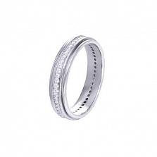 Серебряное кольцо-дорожка с цирконами