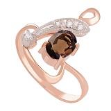 Золотое кольцо с раухтопазом и цирконием Регина