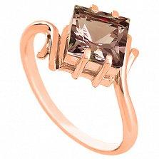 Золотое кольцо Ирэна с дымчатым кварцем