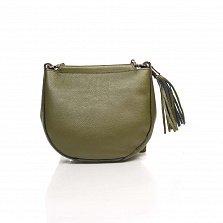 Кожаный клатч Genuine Leather 8887 приглушенно-зеленого цвета с замком-молнией и плечевым ремнем
