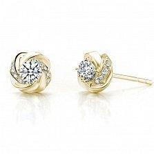Серьги-пуссеты Дикая роза в желтом золоте с бриллиантами, 0,28ct