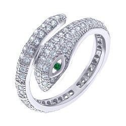 Серебряное кольцо Змея с цирконием 000140263