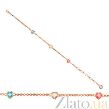 Золотой браслет Флирт с фианитами VLT--Н501