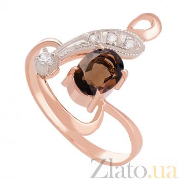 Золотое кольцо с раухтопазом и цирконием Регина VLN--112-1239-2