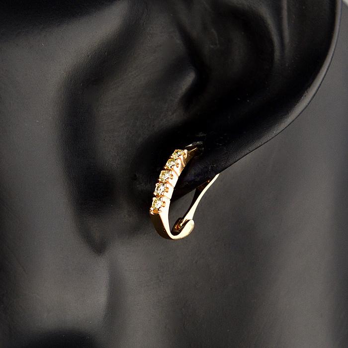 Золотые серьги Мальрес в красном цвете с дорожками из бриллиантов 000079165