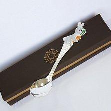 Серебряная ложка с эмалью Зайчик