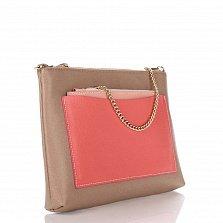 Кожаный клатч Genuine Leather 7808 кофейного цвета с розовым накладным карманом и цепочкой
