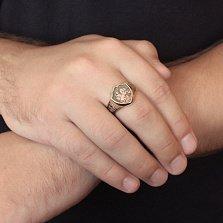 Золотой перстень в форме щита Георгий Победоносец с чернением