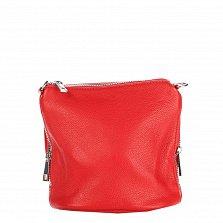 Кожаный клатч на каждый день Genuine Leather 1265 красного цвета с молниями и плечевым ремнем