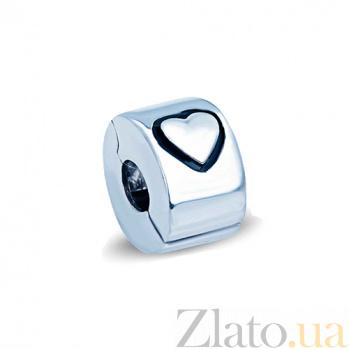 Серебряная бусина-разделитель Сердце AQA--135520028/5-1