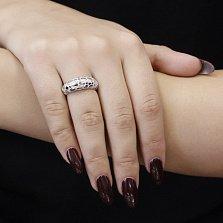 Серебряное кольцо Сафари с белой эмалью