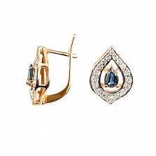 Золотые серьги Вита с бриллиантами и сапфирами
