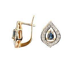 Золотые серьги с бриллиантами и сапфирами 000021916