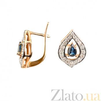 Золотые серьги Вита с бриллиантами и сапфирами 000021916