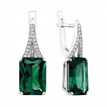Серебряные серьги с зеленым кварцем и фианитами 000096214