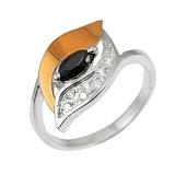 Серебряное кольцо с золотой вставкой и фианитами Улыбка