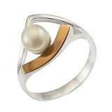Серебряное кольцо с золотой вставкой и жемчугом Росинка
