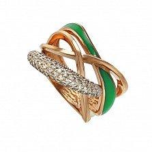 Кольцо в красном золоте Одетта с эмалью и фианитами