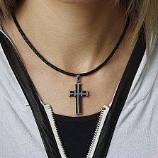 Декоративный крестик из серебра с каучуком Щит