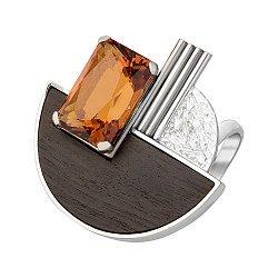 Серебряный перстень с цитрином и эбеновой вставкой 000055021