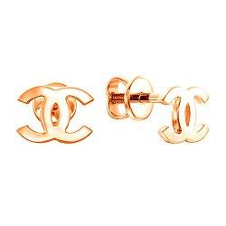 Золотые серьги-пуссеты в красном цвете 000115695