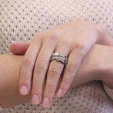 Серебряное кольцо-антистресс Лава с фантазийной шинкой и рубином