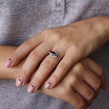 Серебряное кольцо Дайяна с гранатом и цирконием