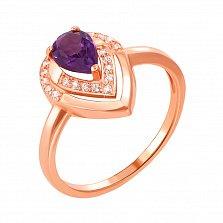 Кольцо из красного золота с аметистом и фианитами 000131300