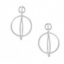 Серебряные пуссеты-подвески Орбиты с цирконием