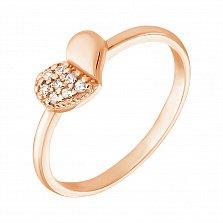 Золотое кольцо-сердечко Половинки в красном цвете с фианитами