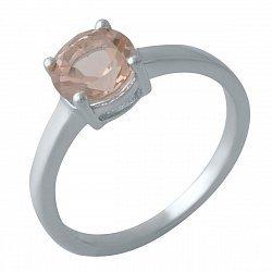 Серебряное кольцо с синтезированным морганитом и родированием 000128872