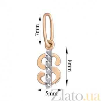 Золотой кулон с алмазной гранью Доллар LEL-62030