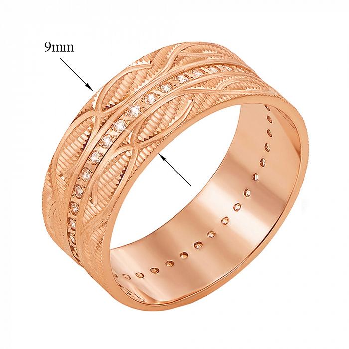 Обручальное кольцо из красного золота с фианитами и алмазной гранью 000000310 1091