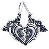 Серебряная подвеска Влюбленные сердца с чернением