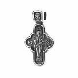 Серебряный крест Божье Благословение с чернением